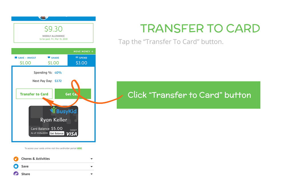 How to load funds to your BusyKid Spend Card: Transfer to Card