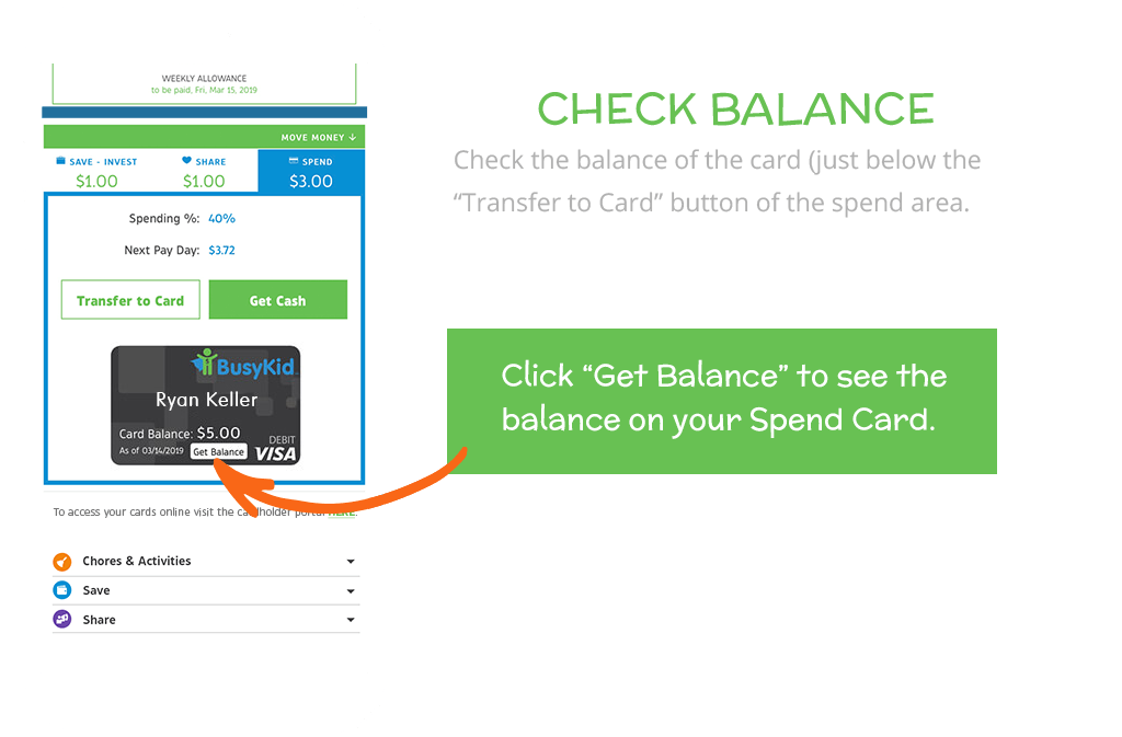 How to load funds to your BusyKid Spend Card: Check Balance