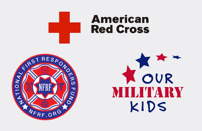American Red Cross, Our Military Kids & National First Responders Fund added to charities
