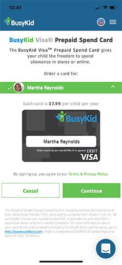 BusyKid Prepaid Spend Card Settings