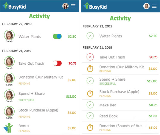 BusyKid Chores App Detailed Daily List of All Activity